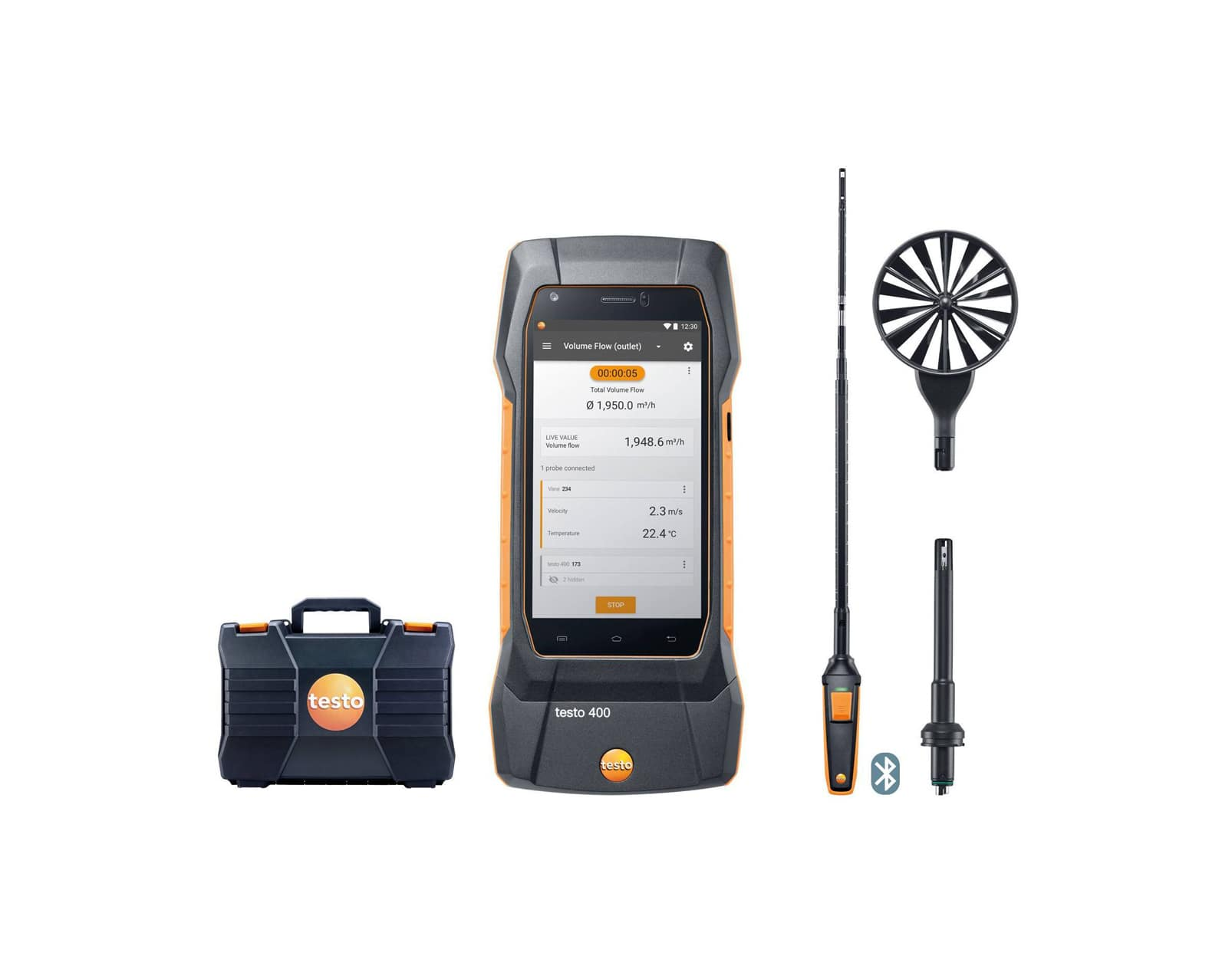 testo 400 air flow kit with hot wire probe