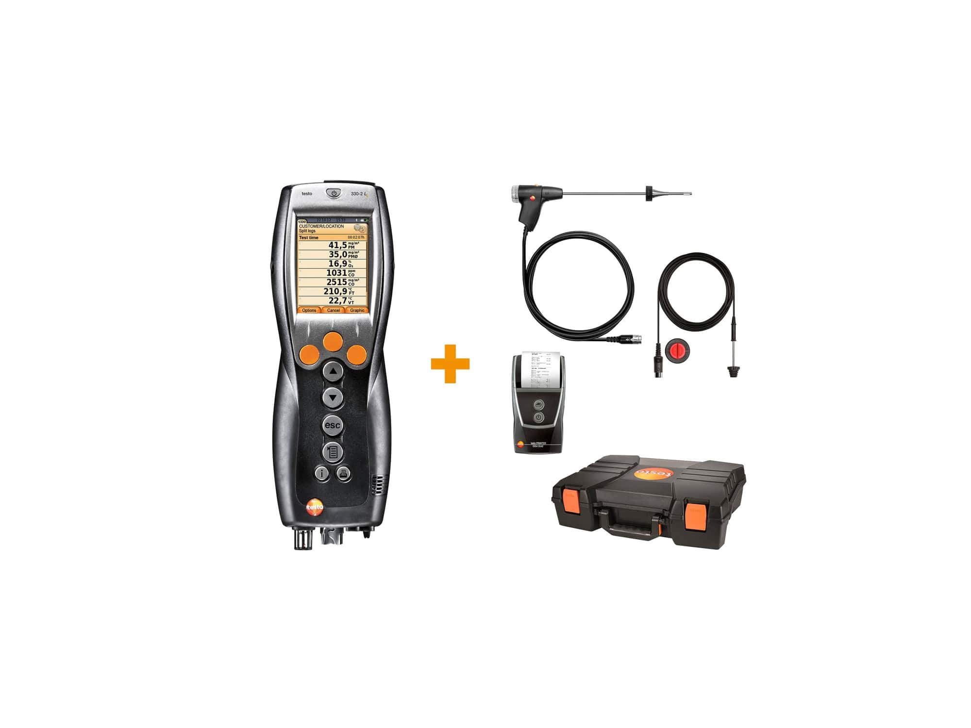 testo 330-2 LL heating constructor's set - flue gas measurement on gas, oil and solid fuel systems
